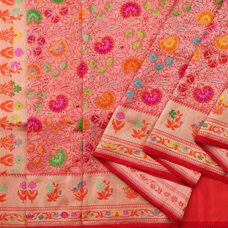 Handwoven Multicoloured Khimkhab Meenakari Banarasi Silk Sari - WIIEDT1152 01 - Cover View