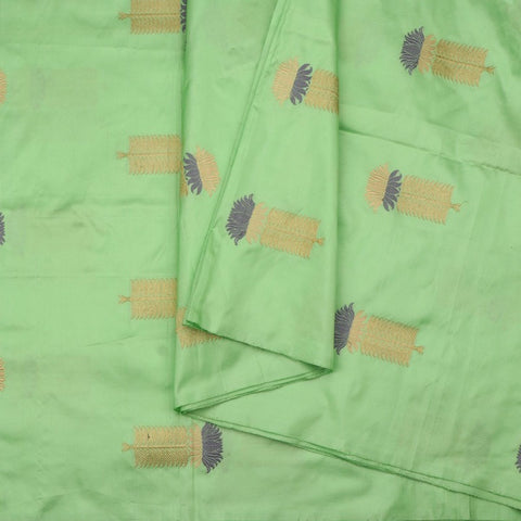 Handwoven Mint Gold Grey Banarsi Silk Unstitched Fabric - WIIAM0089 7 - Cover View