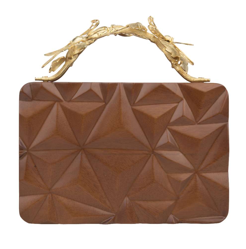 Duet Luxury Dragonfly Triangle Wooden Grasshopper Clutch
