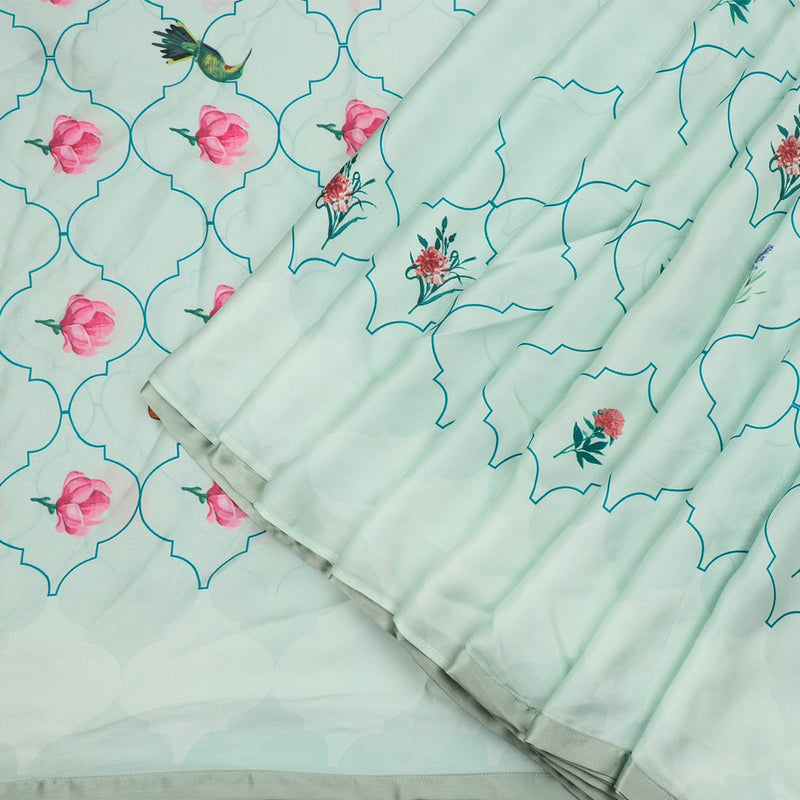 Digitally Printed Mint Green Jharokha-e-phool sari- WIIAKALICO SS23 - WeaveinIndia