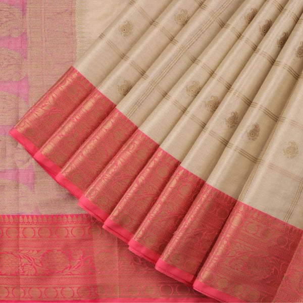 Handwoven Ecru Silk Cotton Chanderi Sari - WIISHNIKARIDNAM0100-4 - Cover View