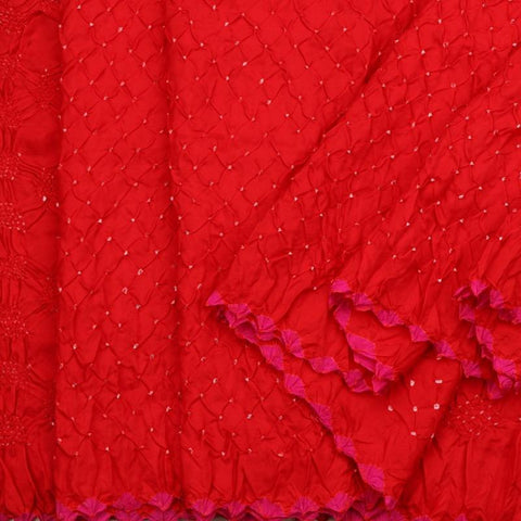 Handwoven Chilli Red Bandhini Habutai Silk Sari - PREBDN004- Cover View