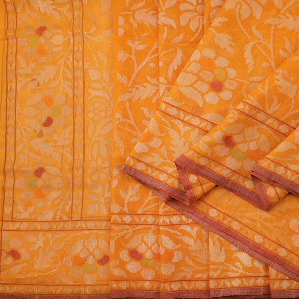Handwoven Sunset Orange Silk Cotton Jamdani Sari - WIIRJ0147 - Cover view