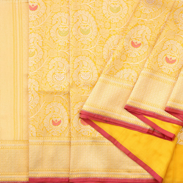 Handwoven Sunshine Yellow Banarasi Silk Sari - WIIRJ101 - Cover View
