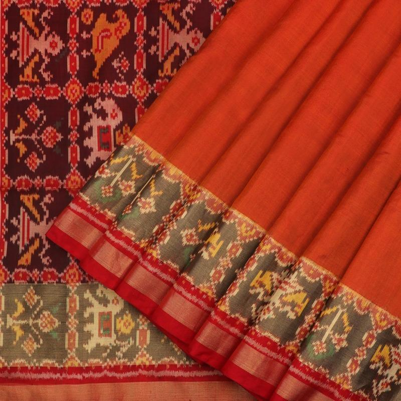 Orange and Red Single Ikat Patola Saree - WeaveinIndia