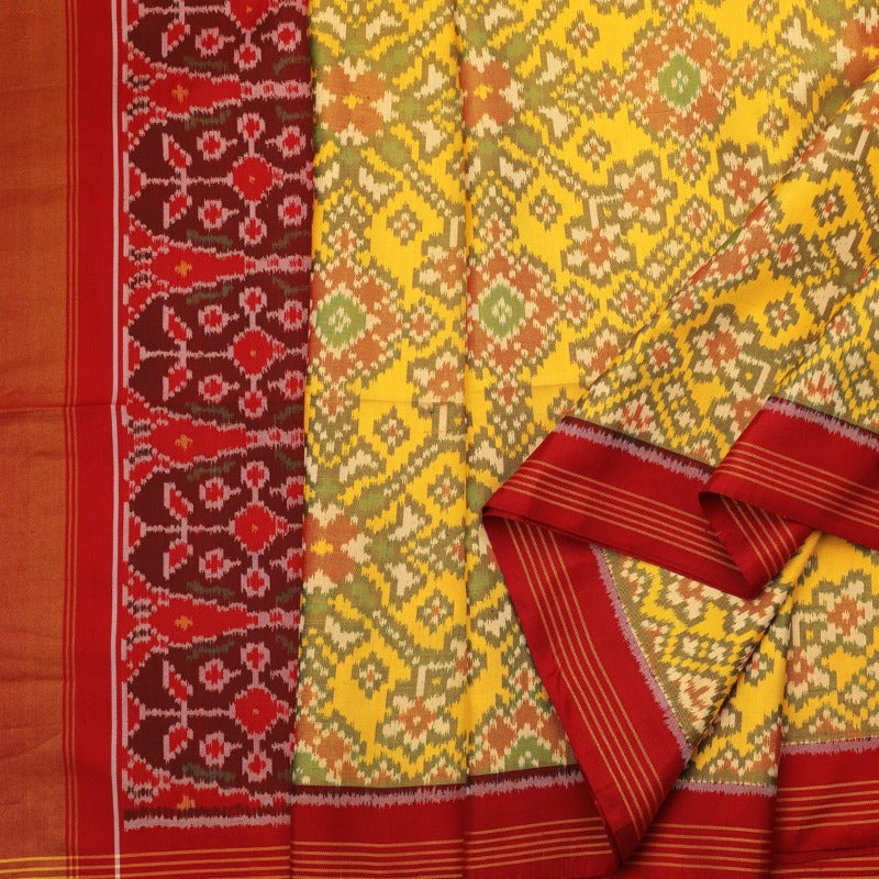 Handwoven Sunshine Yellow Rajkot Single lkat Patola Silk Sari - WIIPATANARIDNAM921118 - Cover View