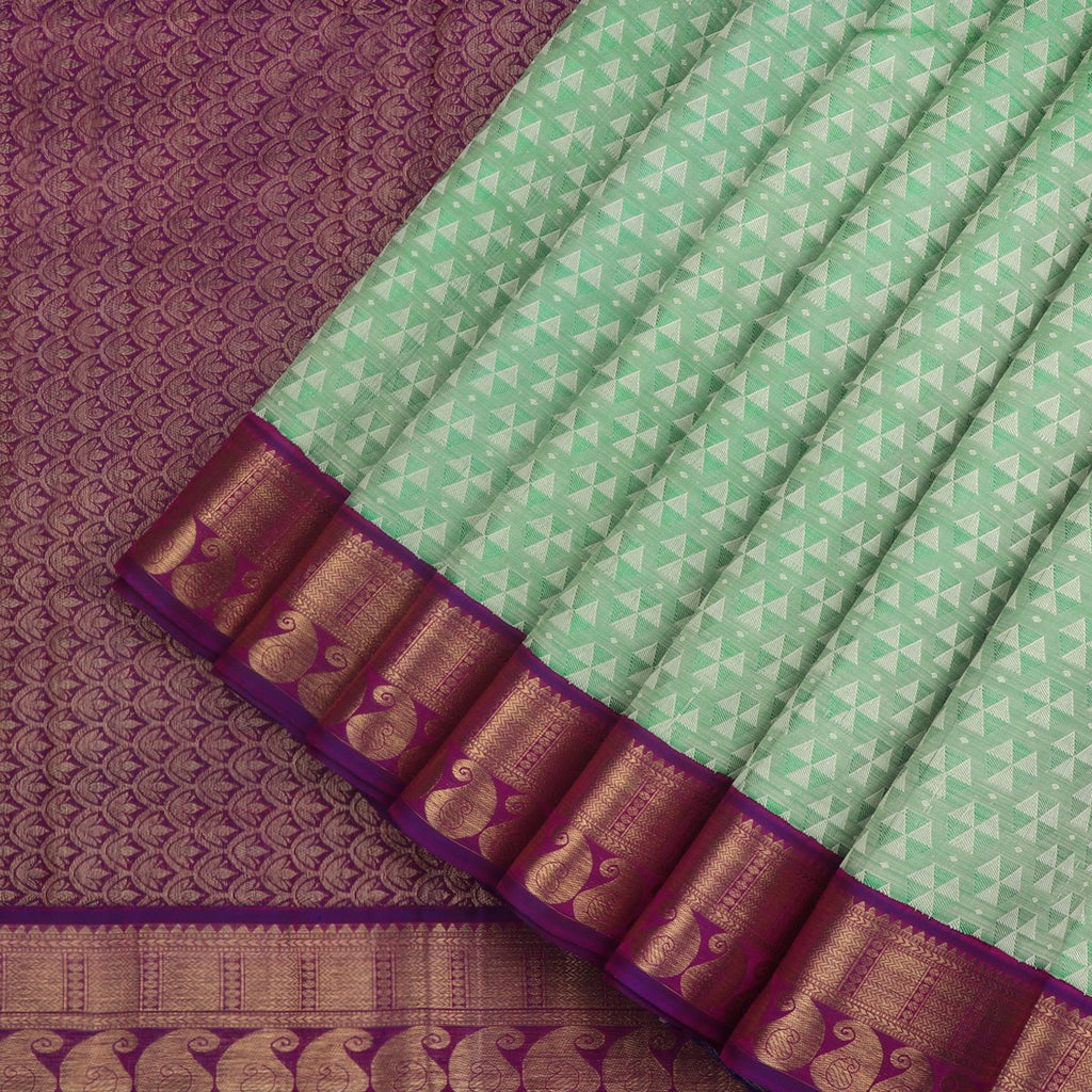 A Light Green Handwoven Kanjivaram Silk Sari- WIICS041 - WeaveinIndia
