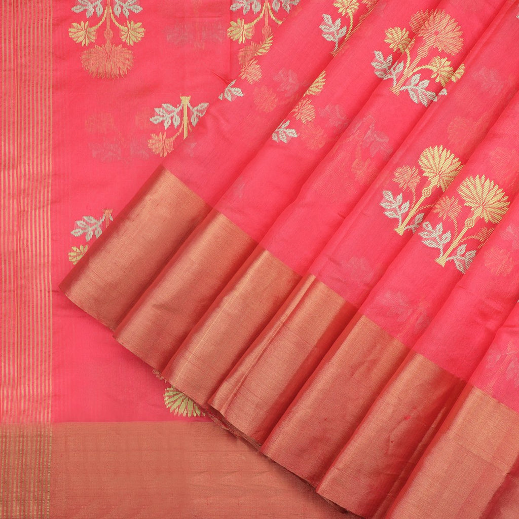 Coral Royal Chanderi Silk Saree - WeaveinIndia