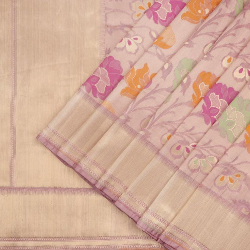 Paithani Silk Saree with Floral Pattern - WeaveinIndia