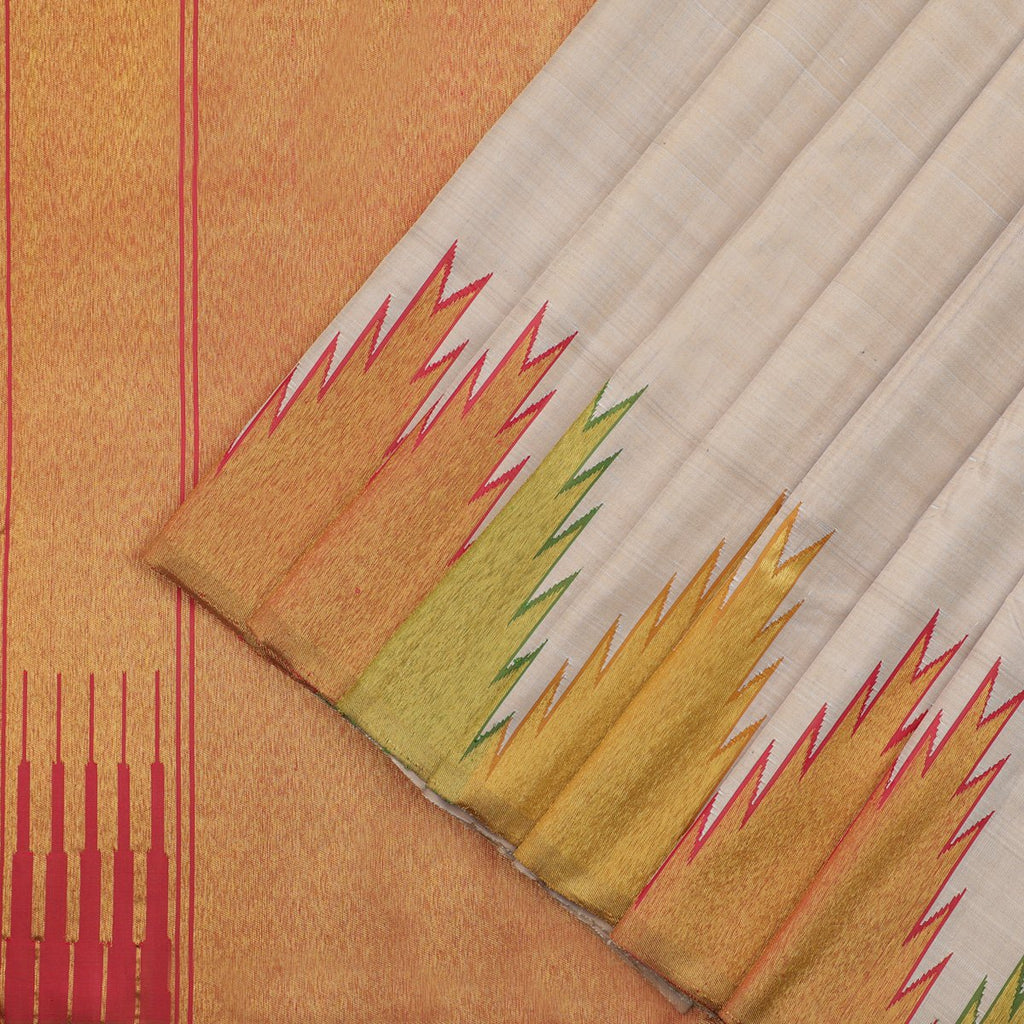 Handwoven Natural Beige Pure Kanjivaram Silk Saree- WIISKVEL 005 - WeaveinIndia