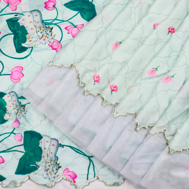 Digitally Printed Mint Green Jharoka-e-phool sari-WIIAKALICO SS21 - WeaveinIndia