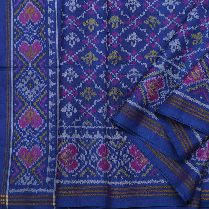 Handwoven Royal Blue Semi Patan Patola Silk Sari - WIIPP060(18)R - Cover View