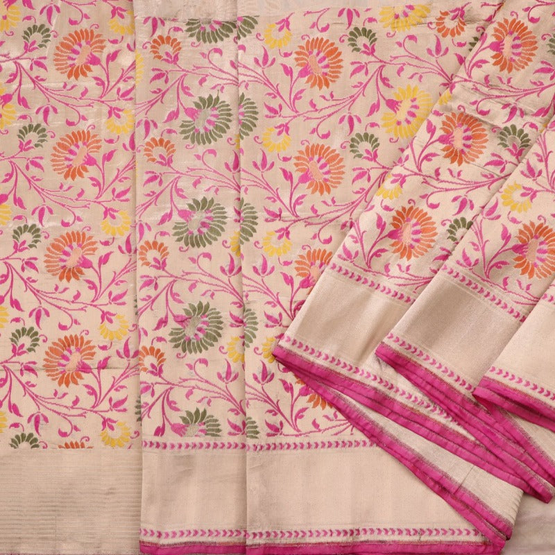 Handwoven Multicolour Half And Half Paithani Sari - WIIRJ10079001 - Cover View