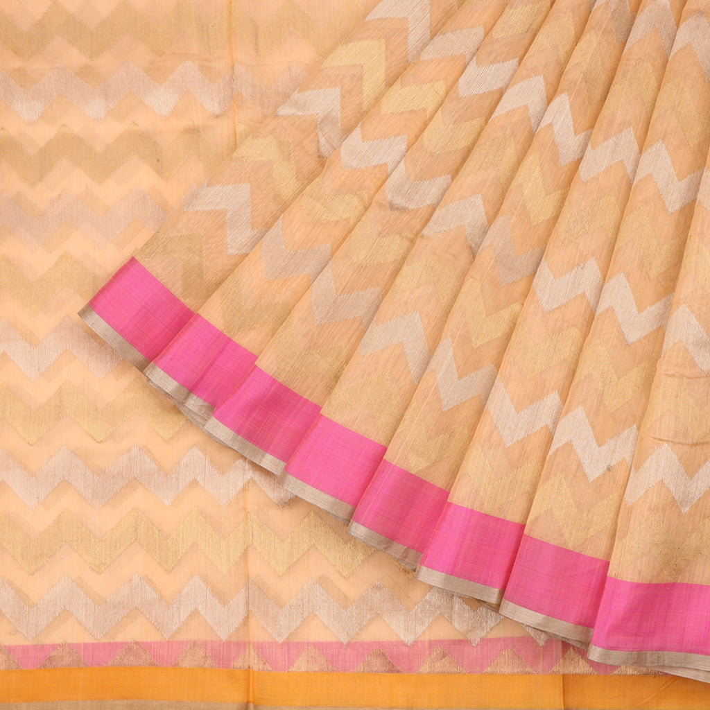 Handwoven Peach Silk Cotton Chanderi Sari - WIIAPRI CFJS(5) - Cover View
