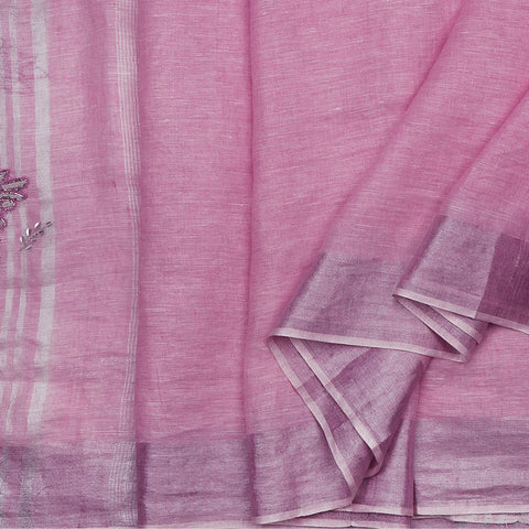 Handwoven Pink Linen Sari with Silver Hand Embroidery - WIIARIDNAMSS0110 - Cover View