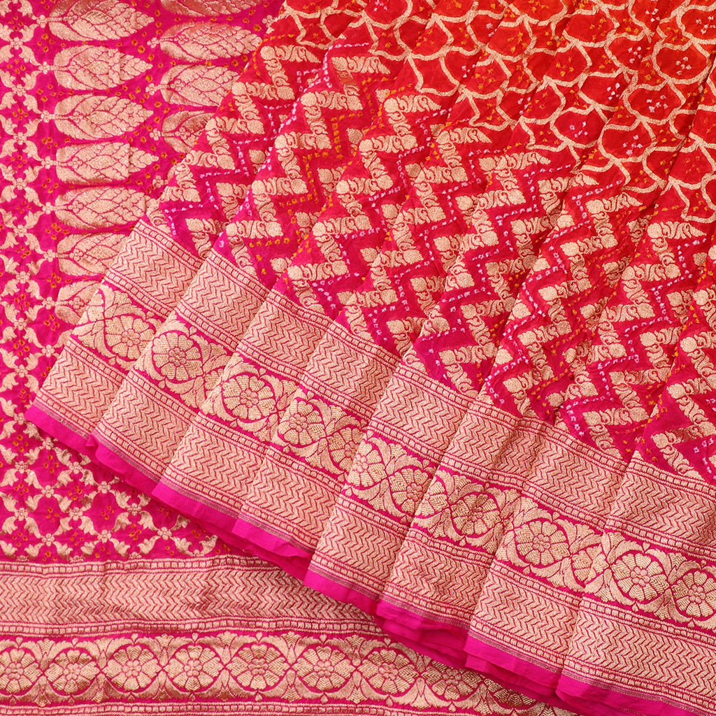 Handwoven Rani Pink and Chilli Red Silk Georgette Banarasi Bandhani Sari - WIIAJB257 116(2) - Cover View