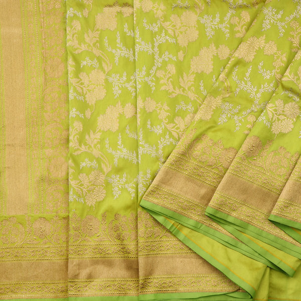 Handwoven Lime Green Banarasi Silk Sari - WIIAM0124 - Cover View