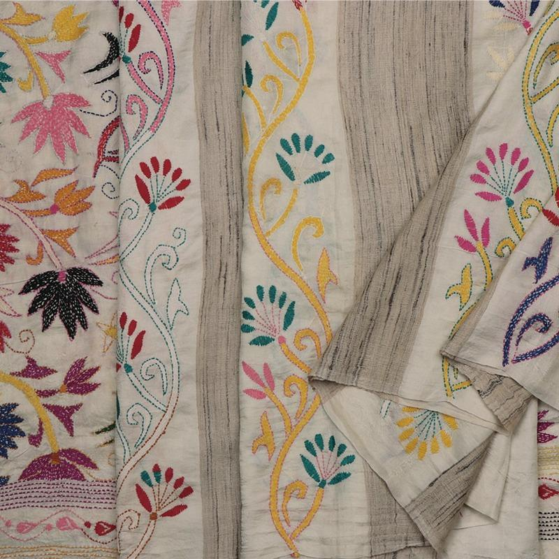 Handwoven Bengal Cotton Sari with Kantha Embroidery - WIIARIDNAMSS114 - Cover View