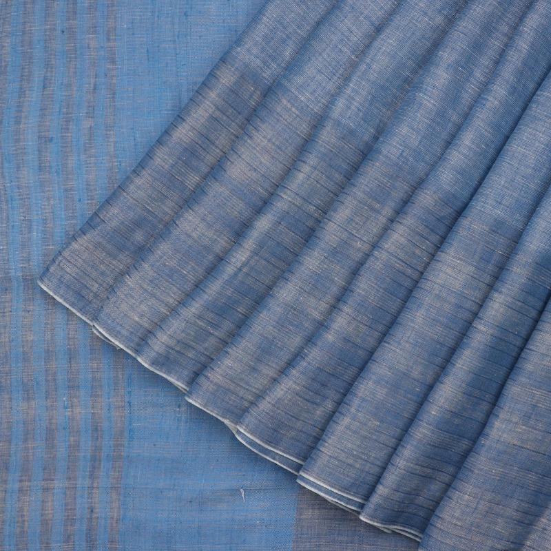 HANDWOVEN ASH BLUE LINEN SARI-WIIGS054- Cover View