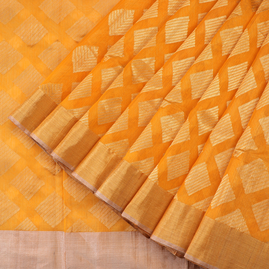 Handwoven Turmeric Yellow Silk Cotton Chanderi Sari - WIIAPRI CFJS(1) - Cover View
