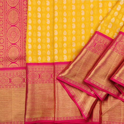 Handwoven Sunshine Yellow Kanjivaram Silk Sari - WIIARIDNAM063 - Cover View
