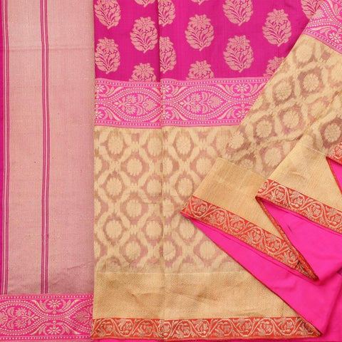 Handwoven Cream Banarasi Silk Tissue Sari - WIIRJ992009 - Cover View