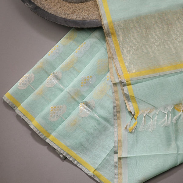 Handwoven Mint Silk Cotton Chanderi Dupatta - WIIAPRI CWMD 4 - Design View