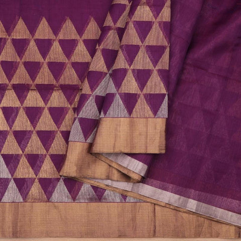 Handwoven Aubergine Purple Jamdani Silk Unstitched Fabric - WIIMARMKJWF - Cover View