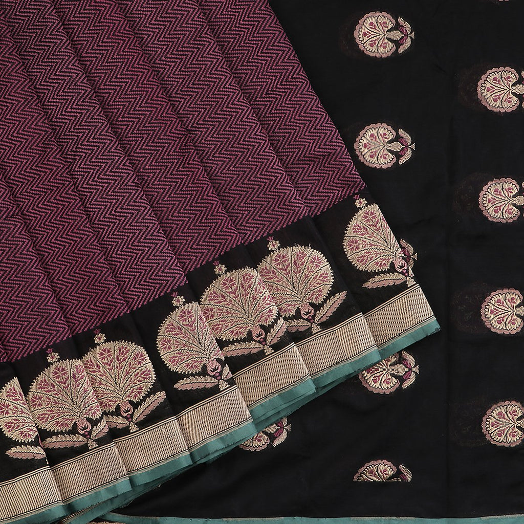 Handwoven Black Banarasi Kadhua Silk Suit - WIIRJ0187 - Cover View