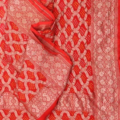 Handwoven Bandhini Banarasi Sunset Red Silk Georgette Dupatta - PREBDNDUP001
