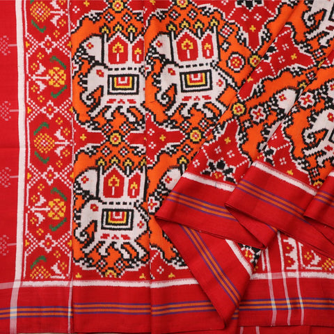 Handwoven Vermilion Red and Pop Orange Chhabadi Kunj Patan Patola Ikat Sari -WIITNKP002 - Cover View