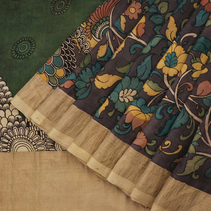Handwoven Taupe Kalamkari Silk Sari-WIIGS058- Cover View