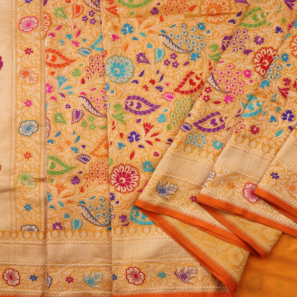 Handwoven Multicolour Khimkhab Banarasi Silk Sari - WIIEDT1152 02 - Cover View