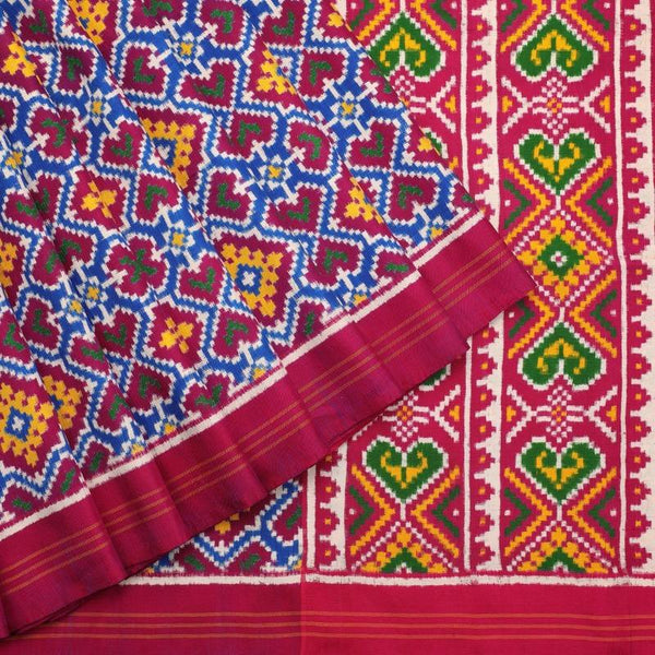 Handwoven Fuchsia Pink Double Ikat Patan Patola Silk Sari - WIIPP085 - Cover View