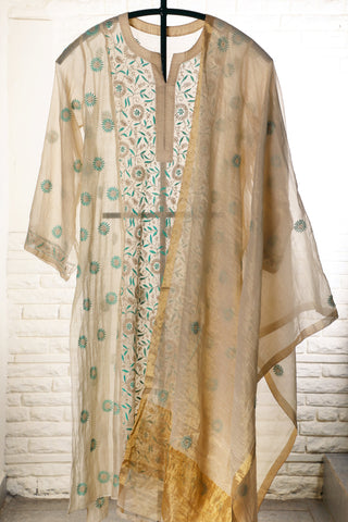 Off White Semi Stitched Chanderi Suit - WIINCK021-C