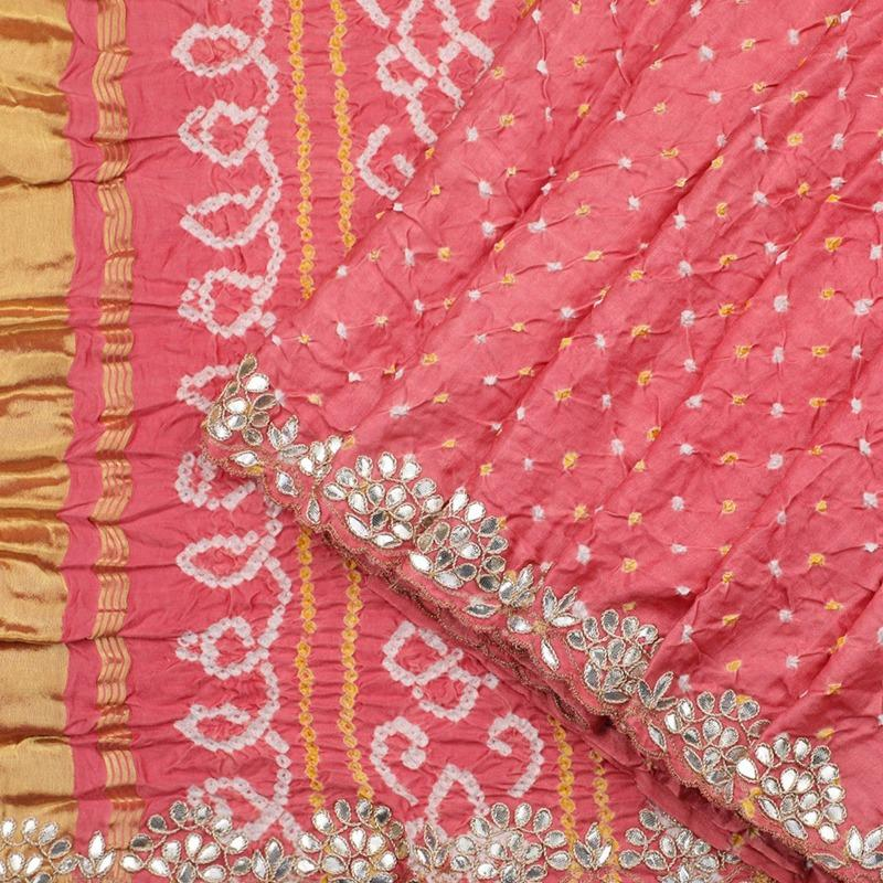 Hand Embroidered Blush-pink Bandhani  Saree with Gota Patti - WeaveinIndia