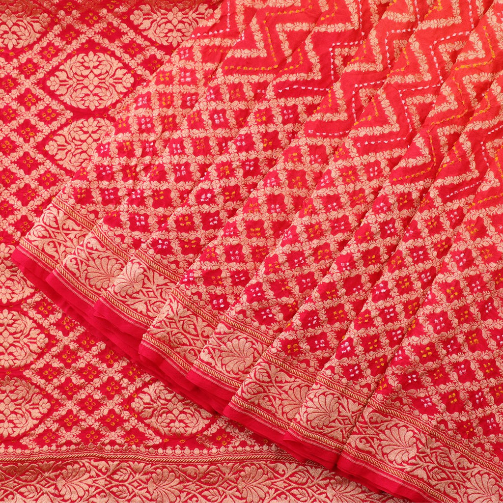 Handwoven Chilli Red Silk Georgette Banarasi Bandhani  Sari - WIIAJB257 116(1) - Cover View
