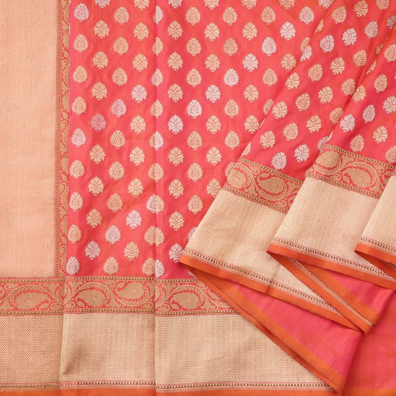 Handwoven Papaya Orange Banarasi Butta Sari - WIISK0011 - Cover View