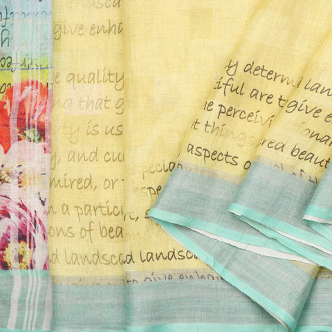 Handwoven Script Decoupage Style Printed Linen Sari - WIIATY013 - Cover View