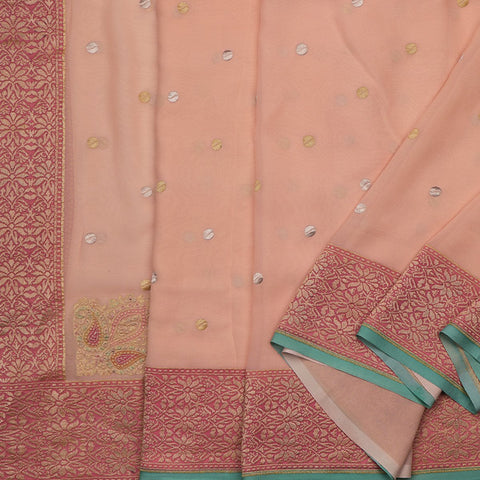 Handwoven Banarasi Blush Pink Pure Silk Georgette Sari - WIISDT1938 04 - Cover View