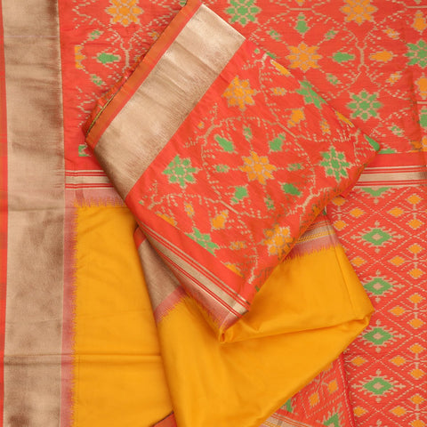 Handwoven Sunshine Yellow Rajkot Single Ikat Dupatta - WIISHNIKARIDNAM0090 - Fold View