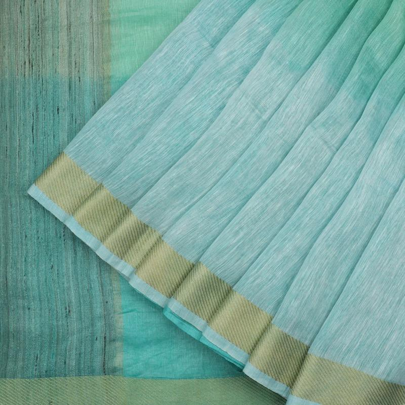 HANDWOVEN ICE BLUE LINEN SARI-WIIGS053- Cover View