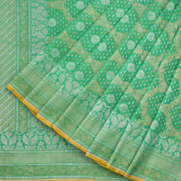 Handwoven Parrot Green Banarasi Muslin Cotton Sari-WIIGS045-Cover View