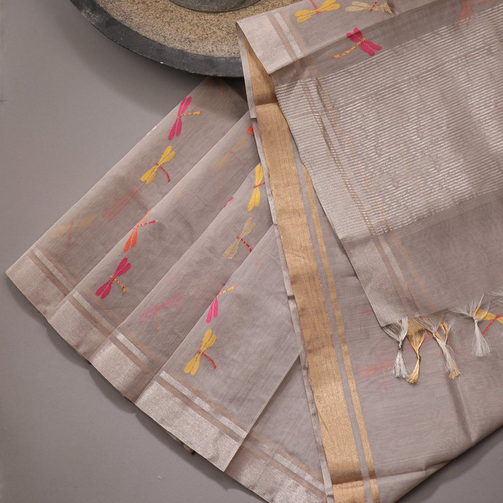 Handwoven Cloud Grey Dragonfly Silk Cotton Chanderi Dupatta - WIIAPRI CWMD 7 - Cover View