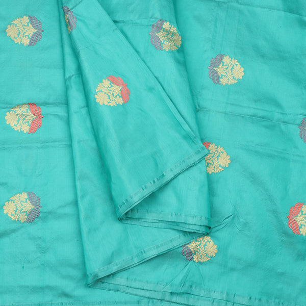Handwoven Sea Foam Banarasi Brocade Butta Work Unstitched Silk Fabric - WIIAM0089 8 - Cover View