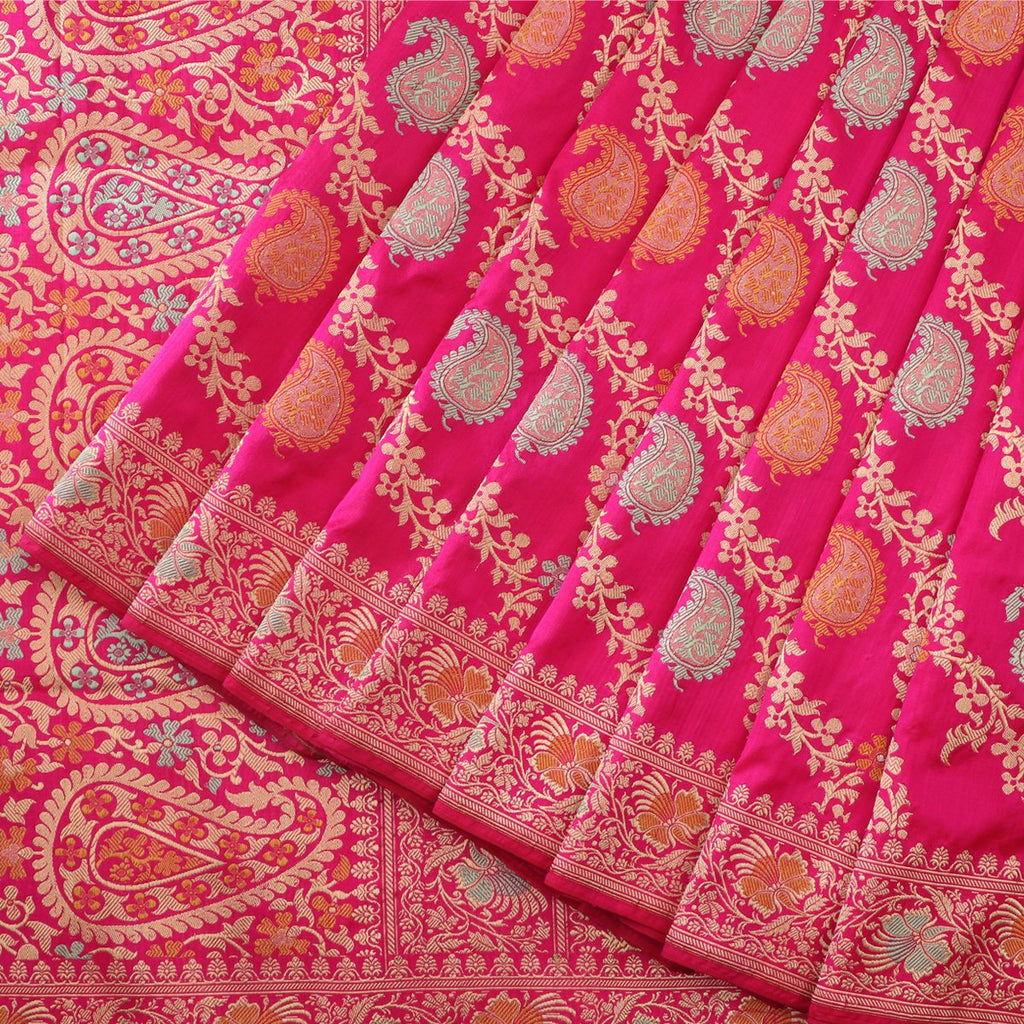Handwoven Candy Pink Keriya Banarasi Silk Sari - WIIBT0094 - Cover View