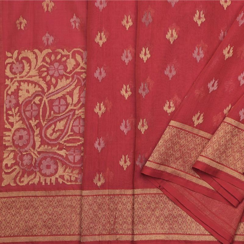 Handwoven Banarasi Cherry Red Silk Cotton Sari - WIIRJ0153 - Cover View