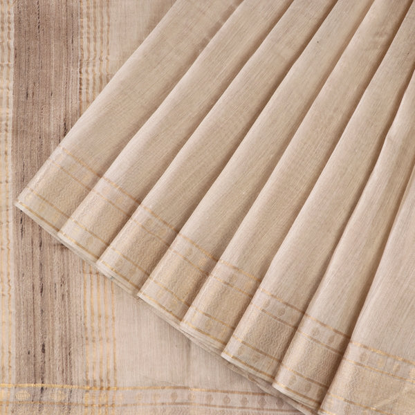 Handwoven Off-White Muga Tussar Silk Sari-WIIGS039- Cover View