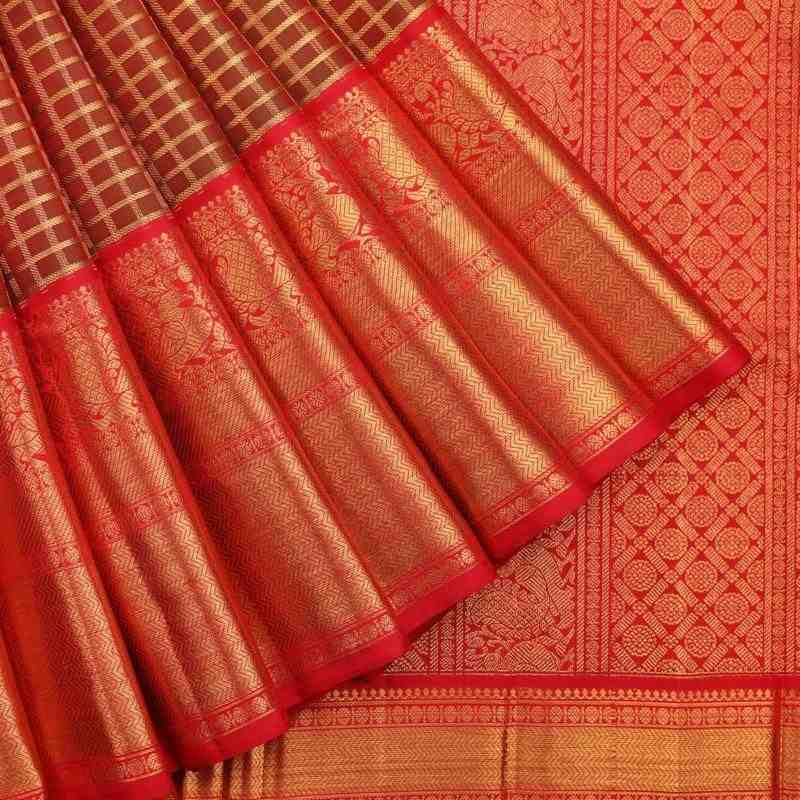 Crimson Red and Green Kanjivaram Muhuratham Silk Saree