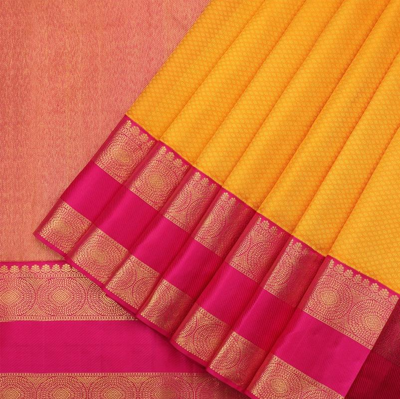 Honey yellow pure kanjivaram silk saree - WeaveinIndia